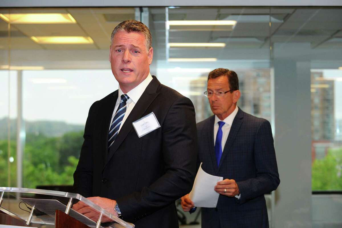 BlackStratus CEO Dale Cline speaks during the grand opening ceremony for the cyber-security firm inside their new office on West Broad St. in Stamford, Conn. on Tuesday, June 28, 2016.