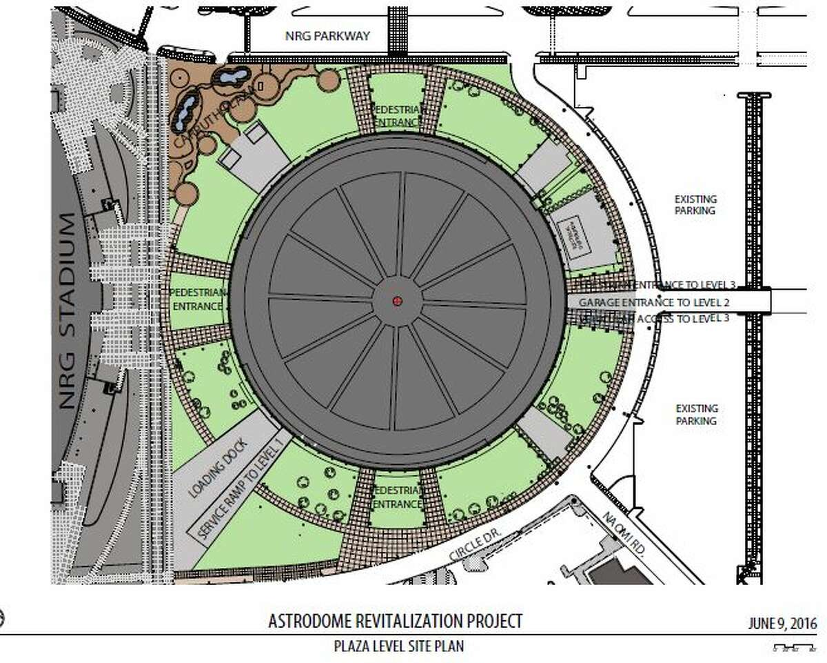 Harris County officials have proposed a $105 million project to raise the ground level of the Astrodome up two levels and turn them into parking, the first step before the stadium can be re purposed for events, and other uses in the future. The plan was presented to commissioners June 28, 2016. Here are the schematics for what such a project could look like.