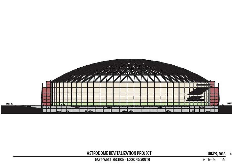 Harris County officials have proposed a $105 million project to raise the ground level of the Astrodome up two levels and turn them into parking, the first step before the stadium can be re purposed for events, and other uses in the future. The plan was presented to commissioners June 28, 2016. Here are the schematics for what such a project could look like. Photo: Courtesy: Harris County Engineering Dept.