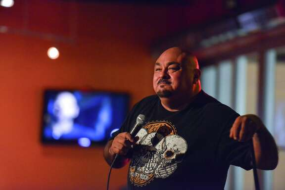 Traveling comedian Rick Gutierrez works on a routine during open-mike night recently at the Laugh Out Loud Comedy Club.