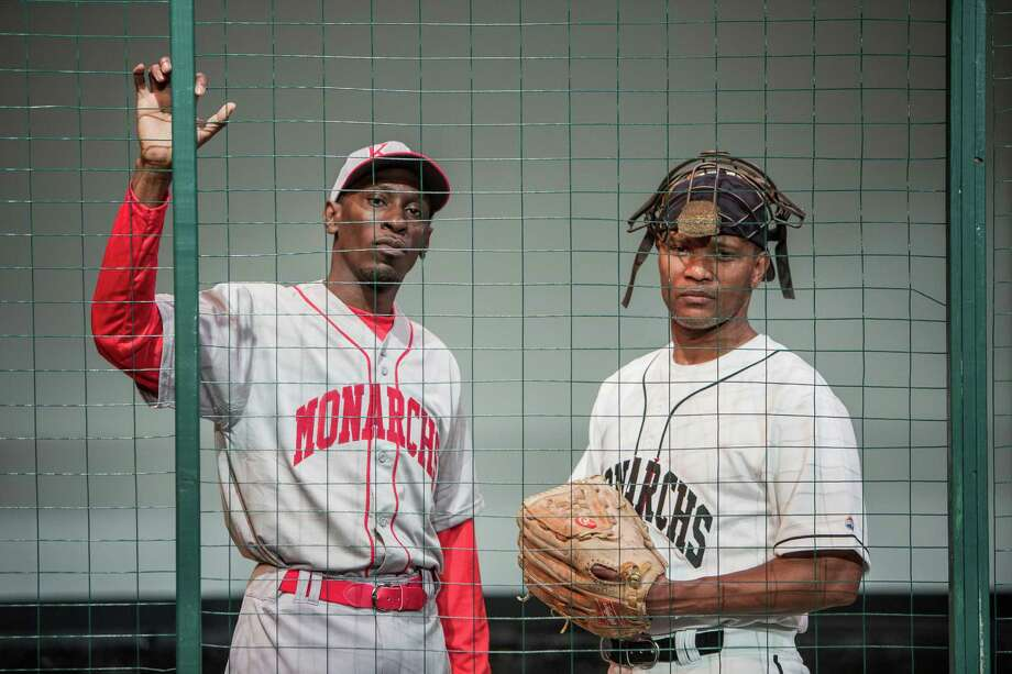 Charles Westley Lattimore, Jr. as Satchel Paige and Andre' Neal during a dress rehearsal of Satchel Paige and the Kansas City Swing at Ensemble Theater Saturday June 25, 2016. (Michael Starghill, Jr.) Photo: Michael Starghill, Jr., Photographer / © 2016 Michael Starghill, Jr.