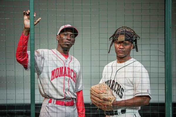 Charles Westley Lattimore, Jr. as Satchel Paige and Andre' Neal during a dress rehearsal of Satchel Paige and the Kansas City Swing at Ensemble Theater Saturday June 25, 2016. (Michael Starghill, Jr.)