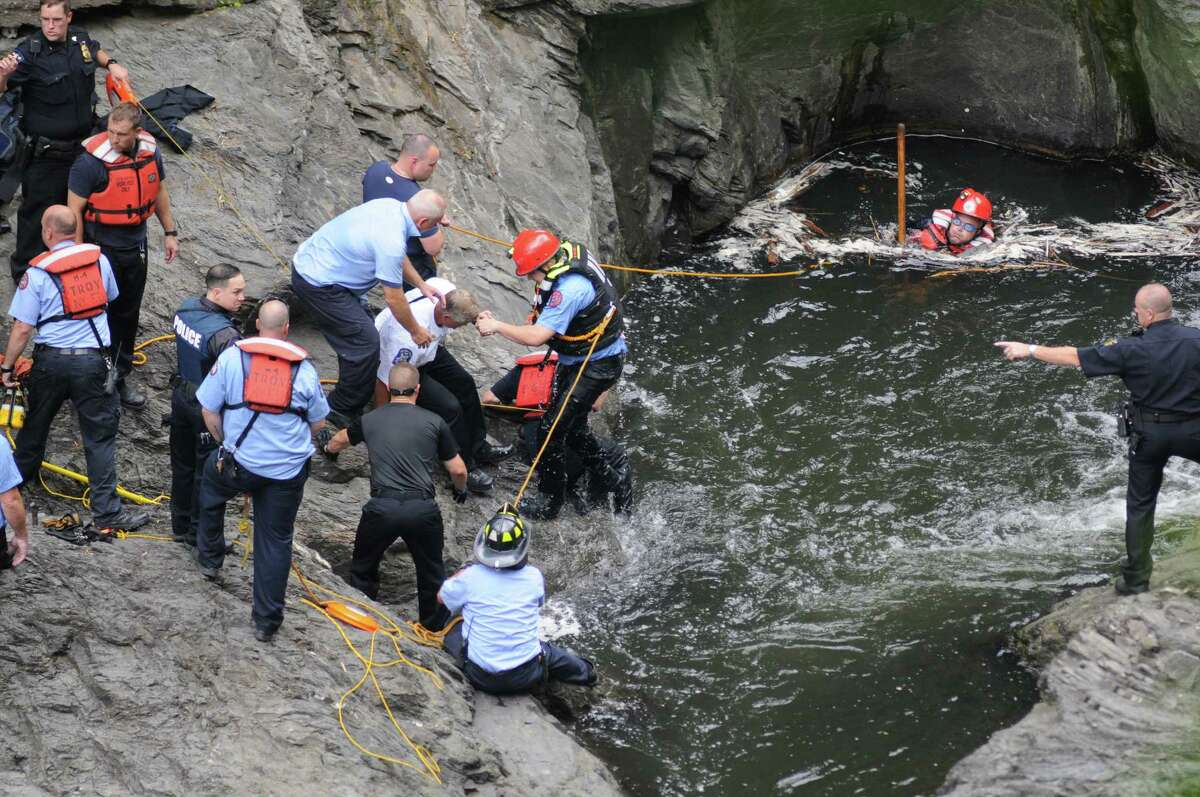 Troy emergency rescue workers search for a drowning victim in the Poestenkill Gorge on Tuesday June 28, 2016 in Troy, N.Y. (Michael P. Farrell/Times Union)