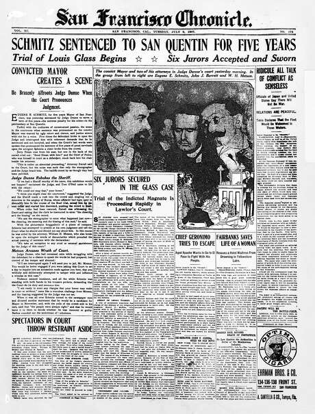 The Chronicle's front page from July 9, 1907, covers the sentencing of San Francisco Mayor Eugene Schmitz to five years in jail.