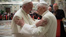 "This handout picture released by the Vatican press office shows Pope Francis (L) during a celebration to mark the 65th anniversary of the ordination of Pope Emeritus Benedict XVI (R) on June 28, 2016 at the Vatican. Three years after he became the first pope to retire in seven centuries, the 89-year-old German confounded rumours that his health was failing by standing for nearly ten minutes as he spoke in a clearly audible, steady voice in a mixture of Italian and Latin.  / AFP PHOTO / OSSERVATORE ROMANO / HO / RESTRICTED TO EDITORIAL USE - MANDATORY CREDIT ""AFP PHOTO / OSSERVATORE ROMANO"" - NO MARKETING NO ADVERTISING CAMPAIGNS - DISTRIBUTED AS A SERVICE TO CLIENTS  HO/AFP/Getty Images"