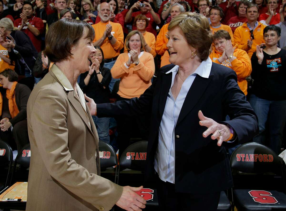 Tennessee head coach Pat Summitt, right, and Stanford head coach Tara VanDerveer, right, greet each other before an NCAA college basketball game in Stanford, Calif., Tuesday, Dec. 20, 2011. (AP Photo/Paul Sakuma)