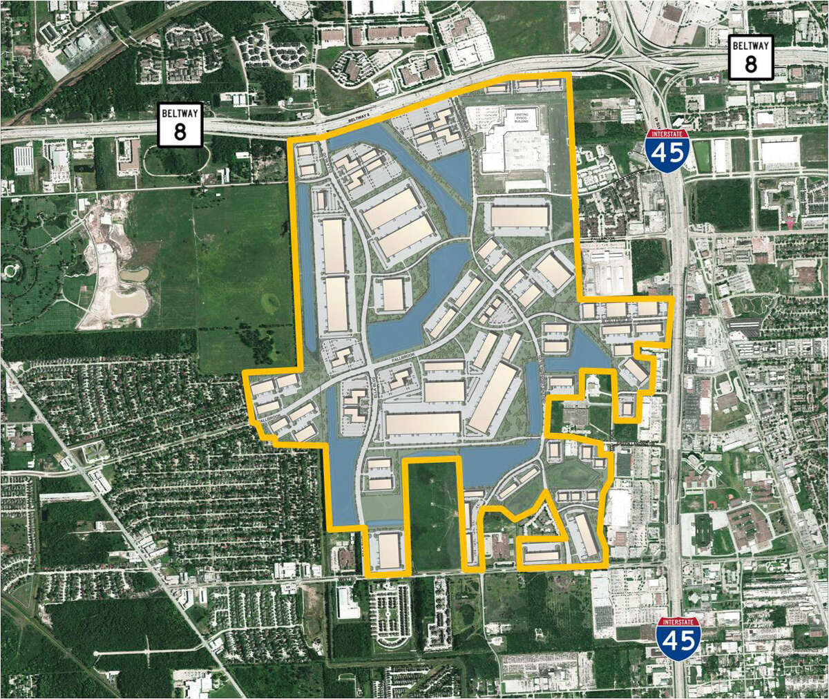 Aerial photo of the master plan of the Pinto Business Park near the southwest corner of Beltway 8 and Interstate 45 North