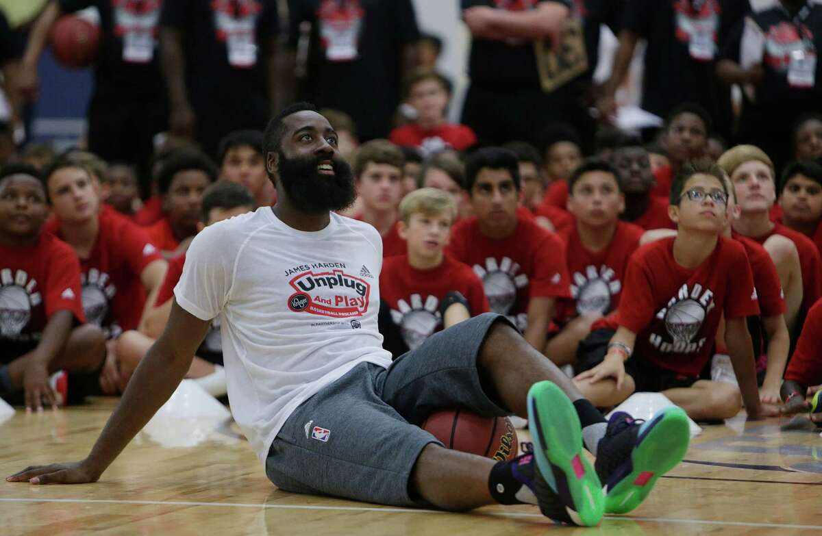 James Harden reacts to a shot during a knockout game at the James Harden Basketball ProCamp,Thursday, June 23, 2016, in Houston.