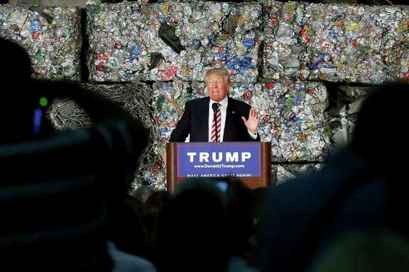 """Globalization has made the financial elite who donate to politicians very, very wealthy,"" Donald Trump said at a Monessen, Pa., recycling center. ""I hate to say it, but I used to be one of them."""