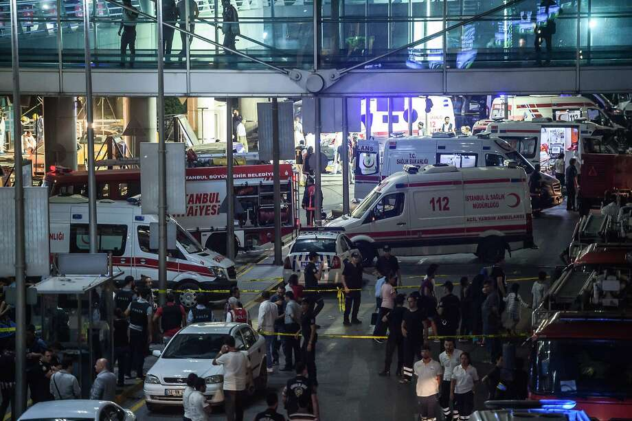 Forensic police investigate the explosion site at Istanbul's Ataturk airport, where all flights were suspended after the attack. In 2015, it was the world's 11th busiest airport. Photo: OZAN KOSE, AFP/Getty Images
