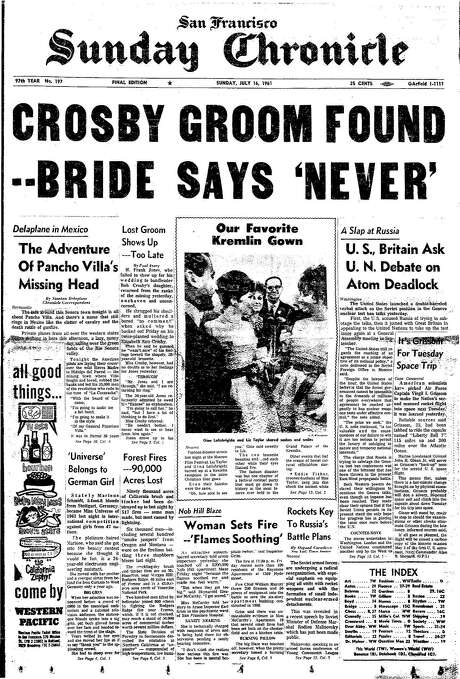 The Chronicle's front page from July 16, 1961, covers the search for Pancho Villa's head.