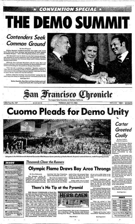 Historic Chronicle Front Page July 17, 1984 Democratic Convention in San Francisco kicks off with three contenders .. Olympic flame passes through Bay Area     Chron365, Chroncover