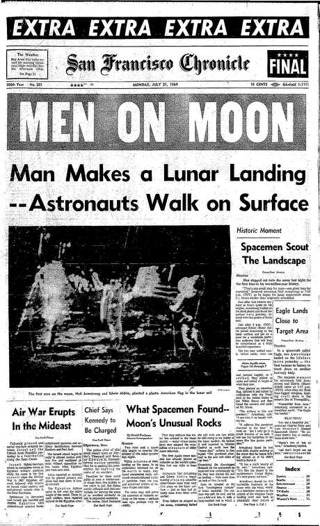 The Chronicle's front page from July 21, 1969, covers the moon landing.