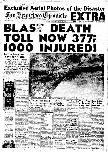 The Chronicle's front page from July 19, 1944, covers the Port Chicago explosion.