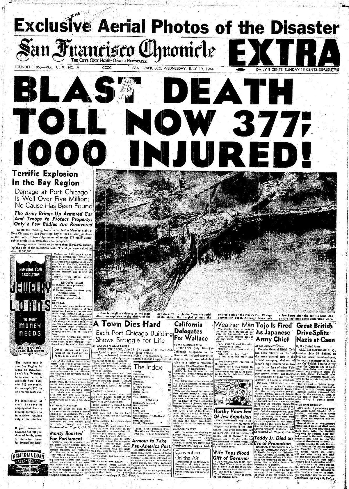 Historic Chronicle Front Page July 19, 1944 Port Chicago explosion on San Francisco Bay Chron365, Chroncover