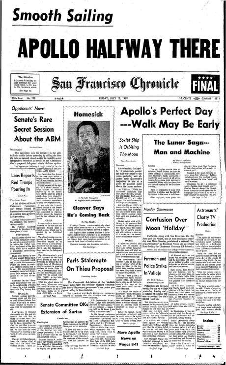 The Chronicle's front page from July 18, 1969, covers an Apollo mission and a Black Panther's exile.