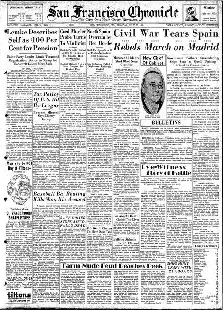 The Chronicle's front page from July 20, 1936, covers the Spanish Civil War.
