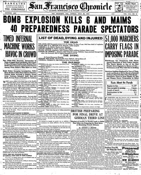 The Chronicle's front page from July 23, 1916, covers the Preparedness Day bombing.