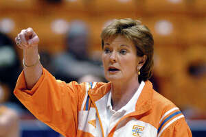 Tennessee head caoch Pat Summitt directs her  team during a practice session  for their first-round NCAA Tournament game against Western Carolina  in Knoxville. Tenn., Saturday, March 19, 2005.  Summitt is one win away from tying  Dean Smith for most career wins in NCAA basketball history. (AP Photo/Rogelio Solis)