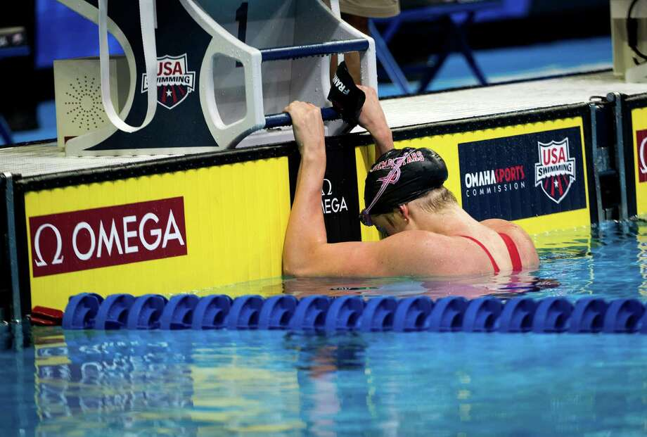 Missy Franklin contemplates her seventh-place finish in the 100 backstroke, an event she won in London in 2012. Photo: DOUG MILLS, STF / NYTNS