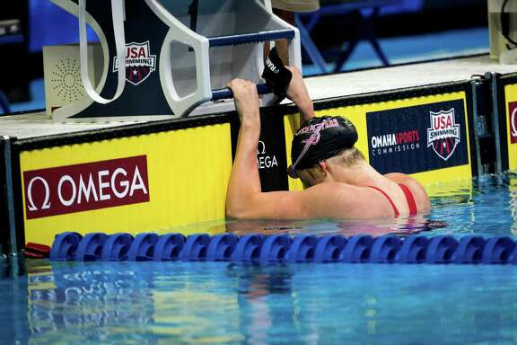 Missy Franklin contemplates her seventh-place finish in the 100 backstroke, an event she won in London in 2012.