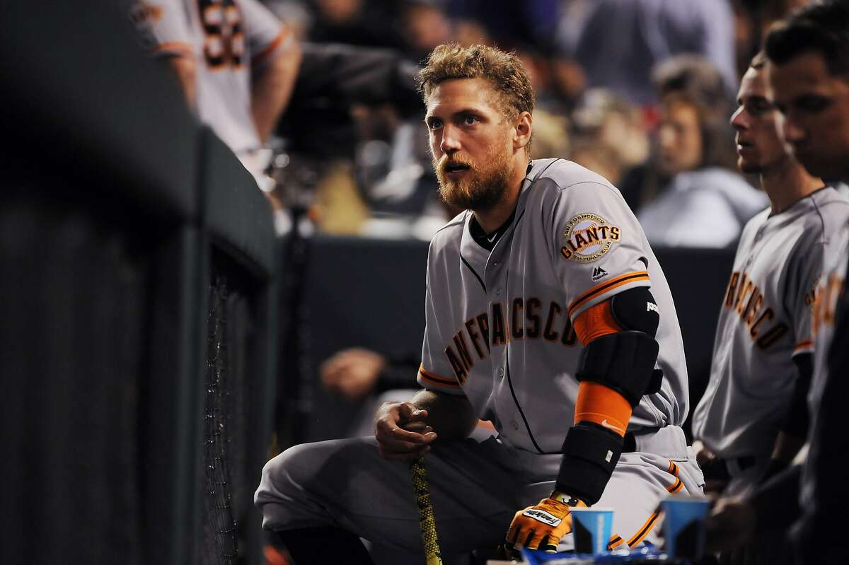 DENVER, CO - MAY 27: Hunter Pence the San Francisco Giants reacts to a loss against the Colorado Rockies at Coors Field on May 27, 2016 in Denver, Colorado. The Rockies defeated the Giants 5-2 (Photo by Bart Young/Getty Images)
