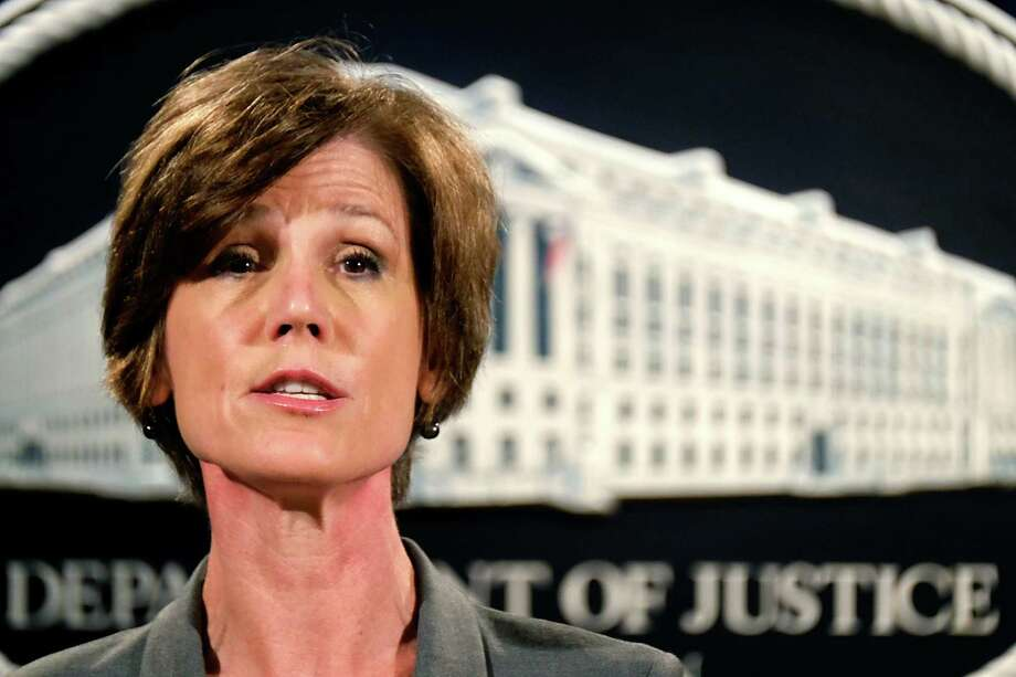 Deputy Attorney General Sally Yates announces a settlement with Volkswagen during a news conference at the Justice Department in Washington, Tuesday, June 28, 2016.  Volkswagen will spend more than $15 billion to settle consumer lawsuits and government allegations that it cheated on emissions tests in what lawyers are calling the largest auto-related class-action settlement in U.S. history. (AP Photo/J. David Ake) Photo: J. David Ake, STF / Copyright 2016 The Associated Press. All rights reserved. This material may not be published, broadcast, rewritten or redistribu