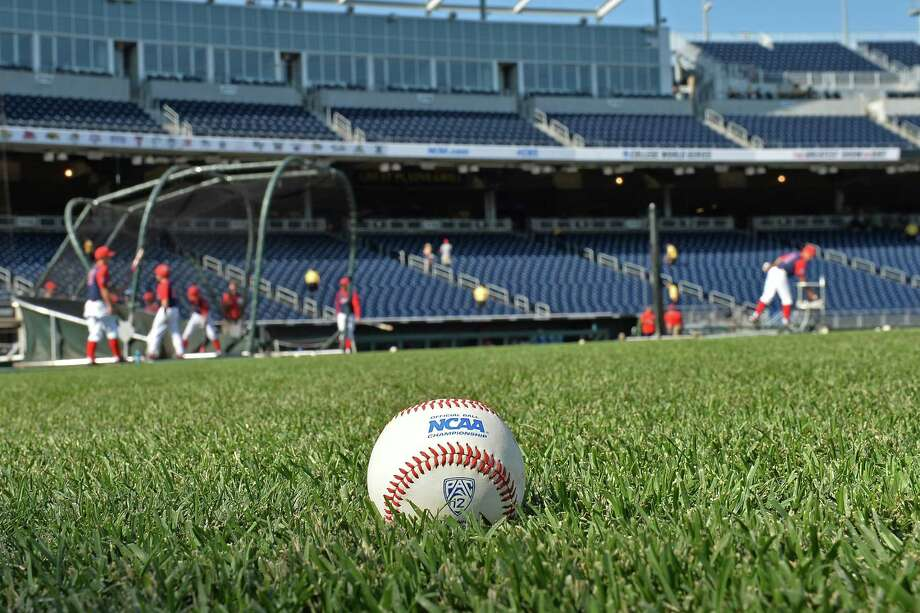 Omaha, NE - JUNE 28:  A general view of an NCAA baseball on the field prior to game two of the College World Series Championship Series between the Arizona Wildcats and the Coastal Carolina Chanticleers on June 28, 2016 at TD Ameritrade Park in Omaha, Nebraska.  (Photo by Peter Aiken/Getty Images) Photo: Peter Aiken, Stringer / 2016 Getty Images