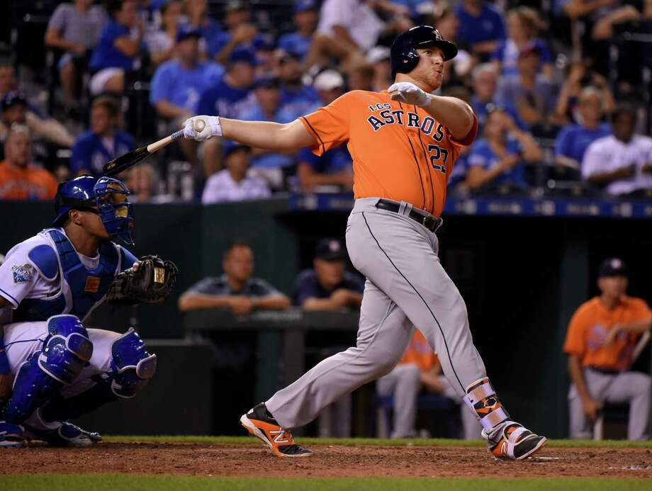 KANSAS CITY, MO - JUNE 25:  A.J. Reed #23 of the Houston Astros fouls the ball off in the ninth inning against the Kansas City Royals at Kauffman Stadium on June 25, 2016 in Kansas City, Missouri. (Photo by Ed Zurga/Getty Images) Photo: Ed Zurga, Stringer / 2016 Getty Images