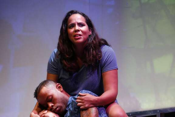 Lauren Spencer (Chima) and Michael Wayne Turner III (Sante) during dress rehearsal of H.O.M.E (Hookers on Mars Eventually) by Star Finch for Campo Santo at A.C.T.'s Strand Theater in San Francisco, Calif., on Tuesday, June 28, 2016.