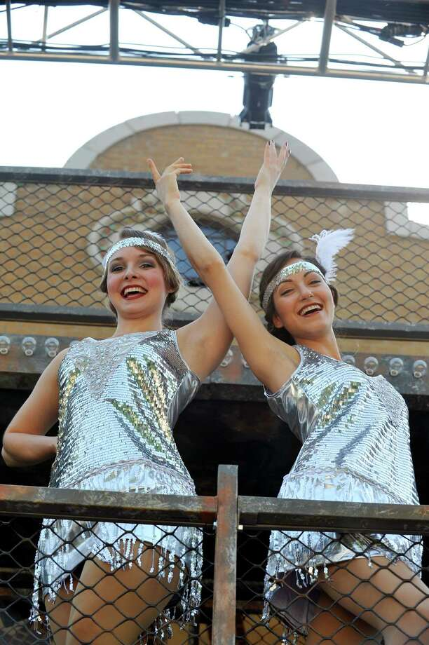 """Cast members of """"Chicago"""", Madeleine Corliss, left, and katy Corbus pose for a photo on the Washington Park Playhouse stage on Sunday, June 26, 2016, in Albany, N.Y.  Corliss plays the part of Velma Kelly and Corbus plays the part of Roxie Hart     (Paul Buckowski / Times Union) Photo: PAUL BUCKOWSKI / 40037078A"""