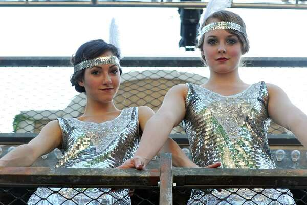 """Cast members of """"Chicago"""", Katy Corbus, left, and Madeleine Corliss pose for a photo on the Washington Park Playhouse stage on Sunday, June 26, 2016, in Albany, N.Y.  Corbus plays the part of Roxie Hart and Corliss plays the part of Velma Kelly.    (Paul Buckowski / Times Union)"""