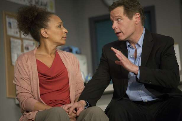 """TV's Tamara Tunie (Law & Order: SVU) stars as Kendra Ellis-Connor opposite Broadway's Michael Hayden as Scott Connor, in the world premiere play """"American Son"""" at Barrington Stage through July 9."""