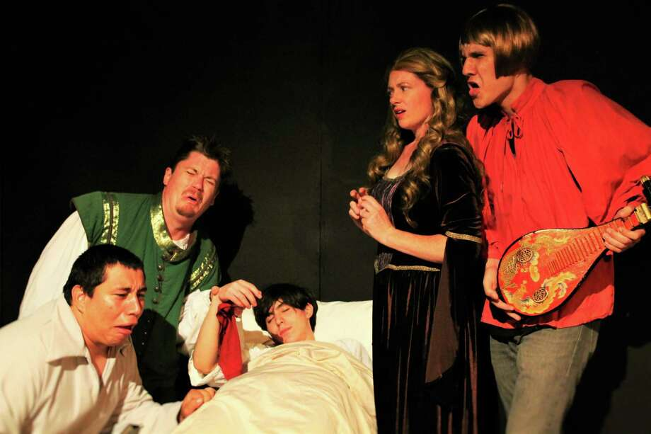 """Black: A Comedy of Bubonic Proportions,"" being presented at the Overtime Theater, features, clockwise from left, Joshua Gutierrez, Guy Schaffs, Nico Gutierrez, Jenny Taylor and Kendall Dunlap. Photo: Courtesy Photo"