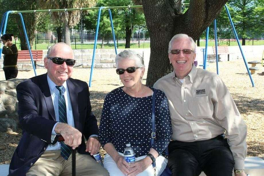 Dr. Irving Schweppe, left, Lynn Wren and Joe Turner, director, Houston Parks and Recreation Department sit on a bench at the improved  Katharine Randall Schweppe Park during the unveiling on May 5.    Photo credit: Photo Courtesy of Houston Parks and Recreation Department  Dr. Irving Schweppe, left, Lynn Wren and Joe Turner, director, Houston Parks and Recreation Department sit on a bench at the improved  Katharine Randall Schweppe Park during the unveiling on May 5.    Photo credit: Photo Courtesy of Houston Parks and Recreation Department Photo: Parks And Recreation Department