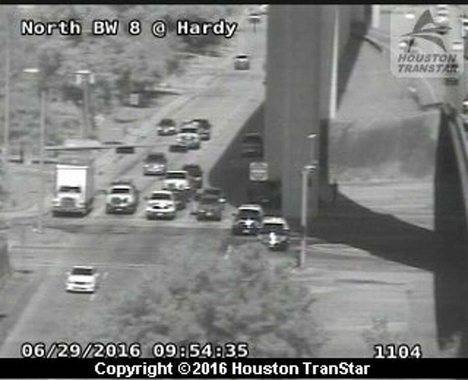Portions of the westbound Beltway 8-North frontage road were snarled about 8:15 a.m. Wednesday, June 29, 2016, after a truck lost hydraulic fluid on the roadway near the Hardy Toll Road in north Houston. (Houston TranStar)