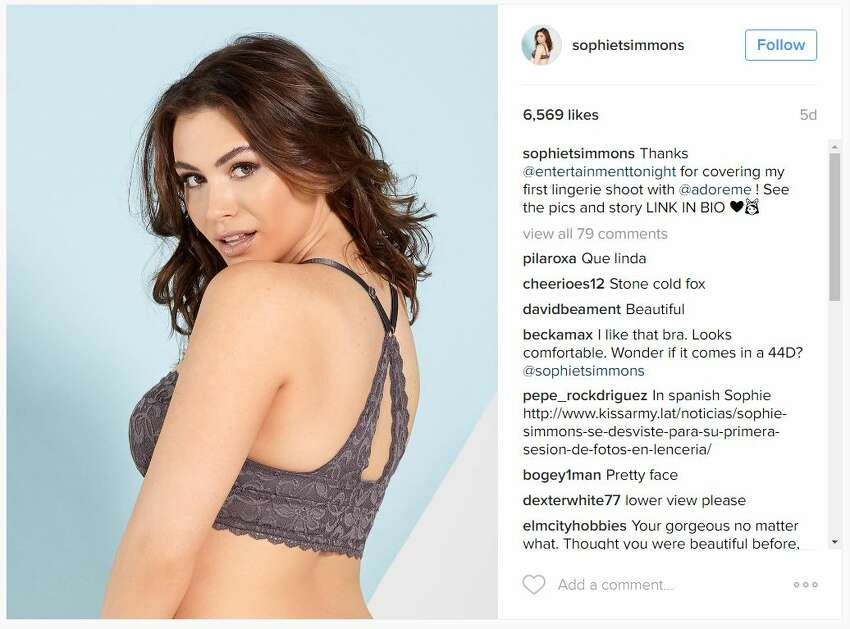 Sophie Tweed-Simmons is making waves on Instagram with her photos in skimpy clothing.