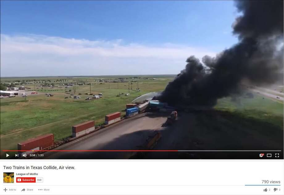 Many have captured footage of a head-on train collision that left one injured and three missing. Local media reported the wreckage continues to smolder one day after the wreck. Photo: YouTube