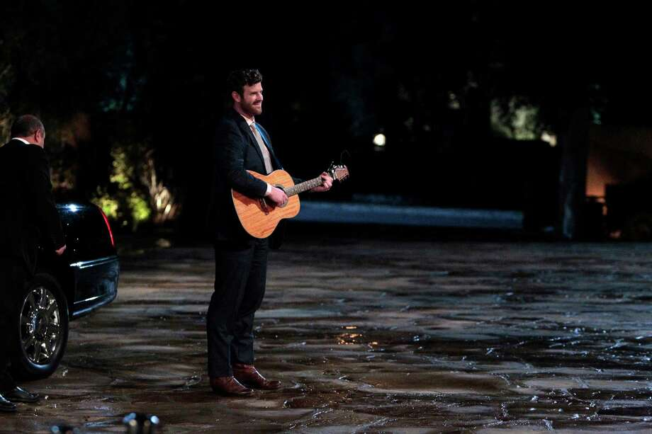 """James McCoy Taylor makes his debut with a song outside the Bachelor mansion on """"The Bachelorette."""" Photo: ABC Press, ABC / © 2016 American Broadcasting Companies, Inc. All rights reserved."""