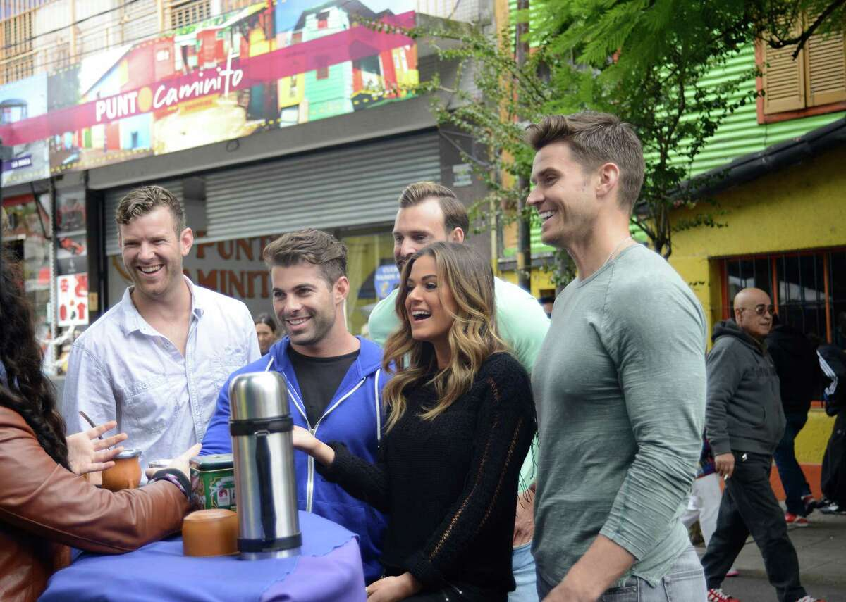 James McCoy Taylor, far left, and fellow contestants Alex, Robby and Luke go on a group date with JoJo Fletcher.