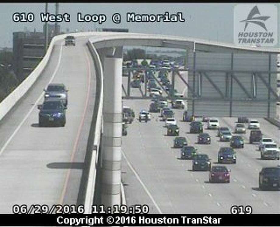 Police are searching for a man who ran away after he was involved in a minor traffic crash about 10:40 a.m. Wednesday, June 29, 2016, on the West Loop near Memorial. (Houston TranStar)