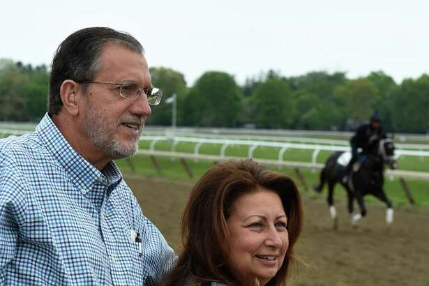 Starlight Racing's Don Lucarelli with his wife StarLadies Racing's Barbara Lucarelli at the Oklahoma Training Center Tuesday May 24, 2016, in Saratoga Springs, N.Y.    (Skip Dickstein/Times Union)