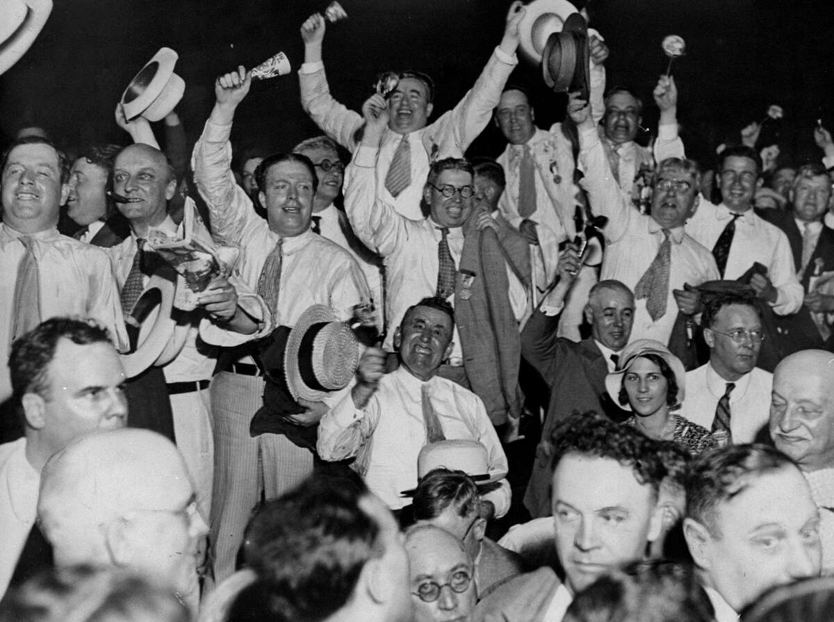 Men cheer at the news of Alfred E. Smith's candidacy for President at the 1928 Democratic Convention. (Photo by NY Daily News Archive via Getty Images)