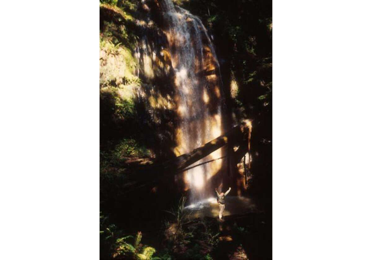 Michael Furniss exults near the plunge pool for Silver Falls at the end of the Golden Cascade in the remote interior of Big Basin Redwoods State Park near Boulder Creek in the Santa Cruz Mountains