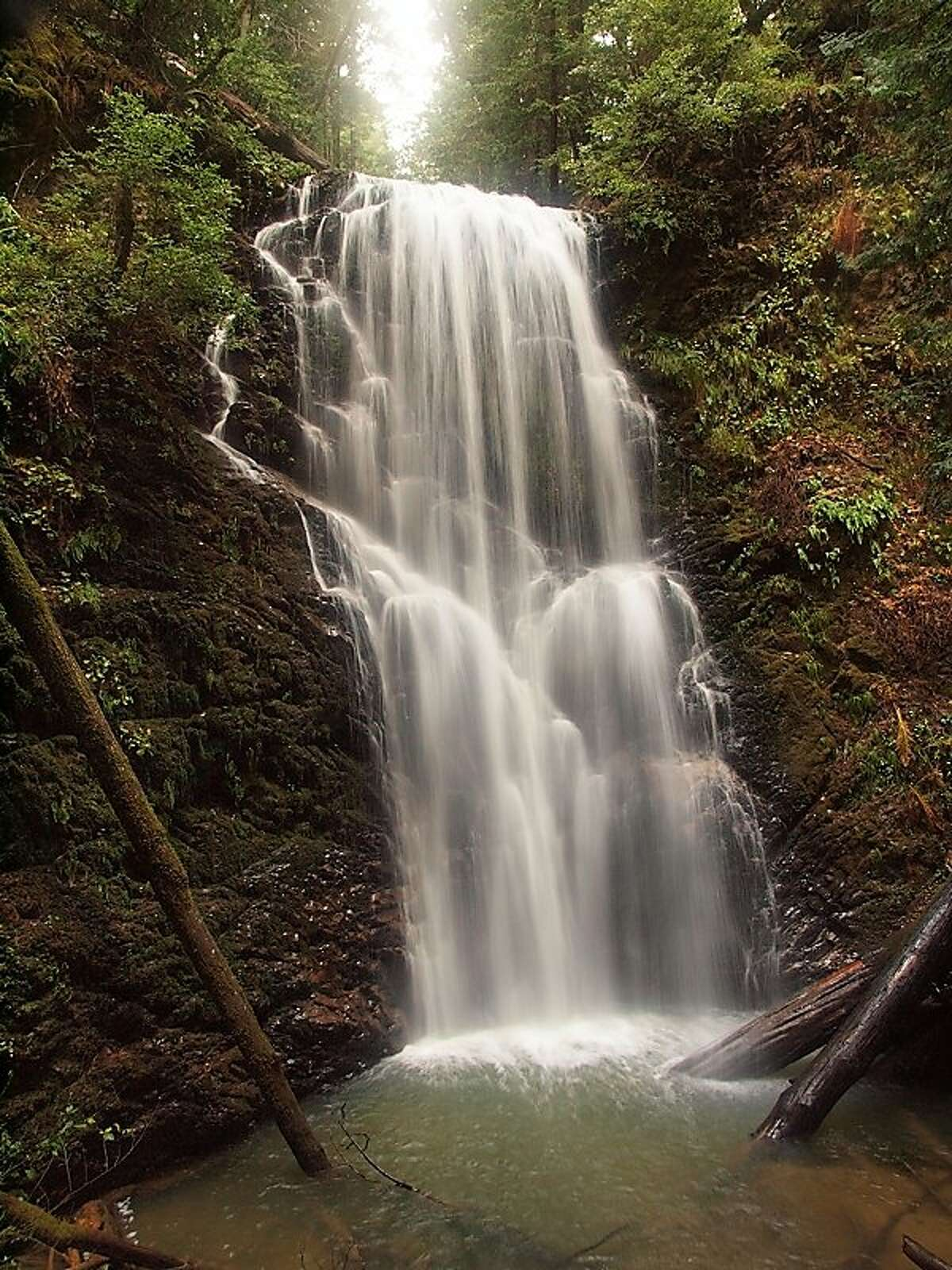 70-foot Berry Creek Falls is the destination for the region's best bike-and-hike, a six-mile ride and half-mile walk from Ranch del Oso, the coastal outpost for Big Basin Redwoods State Park~~