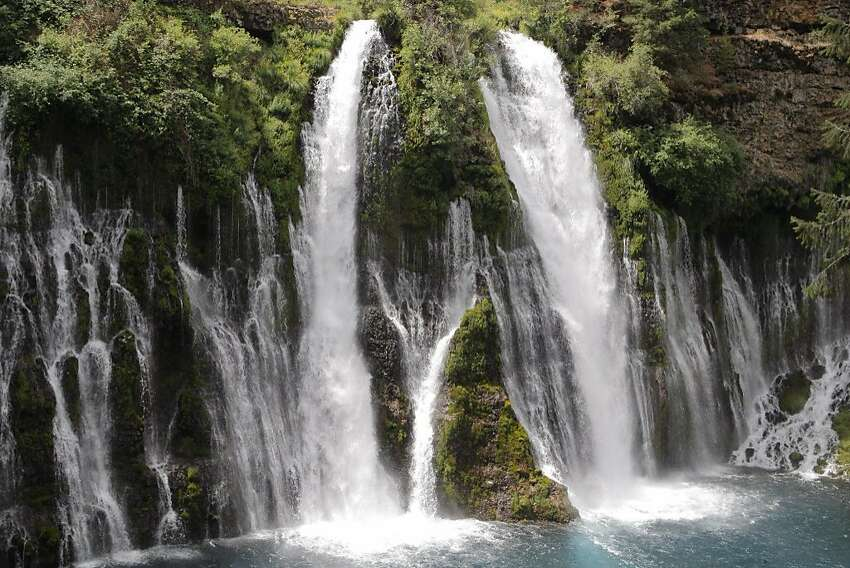 Drought buster: Full frontal of 129-foot McArthur-Burney Falls, viewed from plunge pool -- waterfall pumps 100 million gallons of water per day