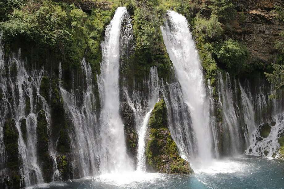 Drought buster: Full frontal of 129-foot McArthur-Burney Falls, viewed  from plunge pool -- waterfall pumps 100 million gallons of water per day Photo: Tom Stienstra / Tom Stienstra