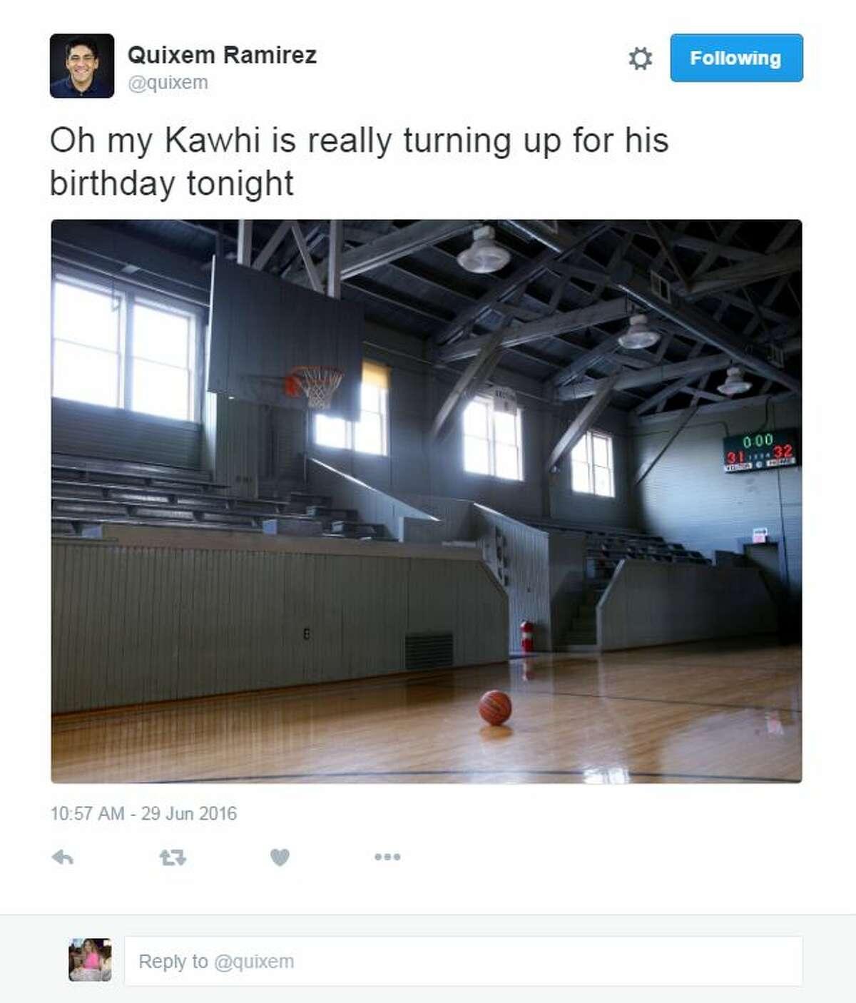 Play basketball: By himself, naturally.