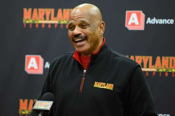 COLLEGE PARK, MD - JANUARY 28:  Former Maryland Terrapins John Lucas talks to the media before the game against the Iowa Hawkeyes at Xfinity Center on January 28, 2016 in College Park, Maryland.  (Photo by G Fiume/Maryland Terrapins/Getty Images)