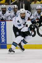 San Jose Sharks' Tomas Hertl (48) plays against the Pittsburgh Penguins during the second period in Game 2 of the NHL hockey Stanley Cup Finals on Wednesday, June 1, 2016, in Pittsburgh. (AP Photo/Keith Srakocic)